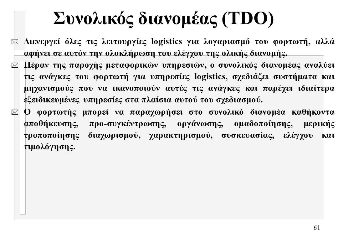 61 Συνολικός διανομέας (TDO) * Διενεργεί όλες τις λειτουργίες logistics για λογαριασμό του φορτωτή, αλλά αφήνει σε αυτόν την ολοκλήρωση του ελέγχου της ολικής διανομής.