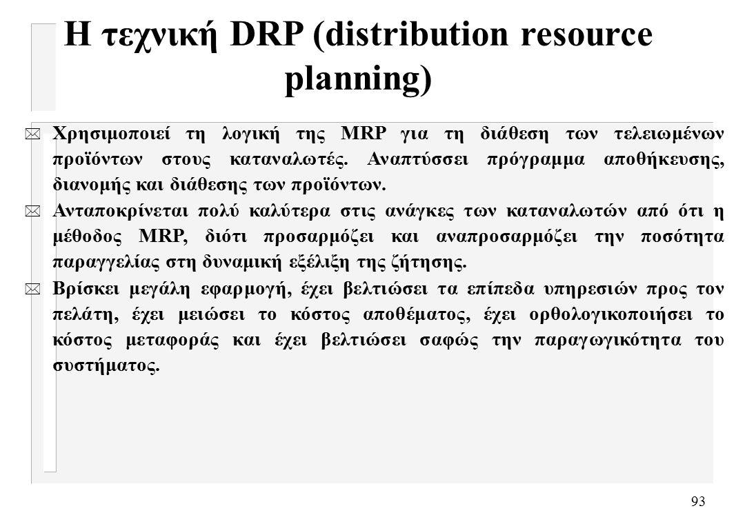 93 Η τεχνική DRP (distribution resource planning) * Χρησιμοποιεί τη λογική της MRP για τη διάθεση των τελειωμένων προϊόντων στους καταναλωτές.