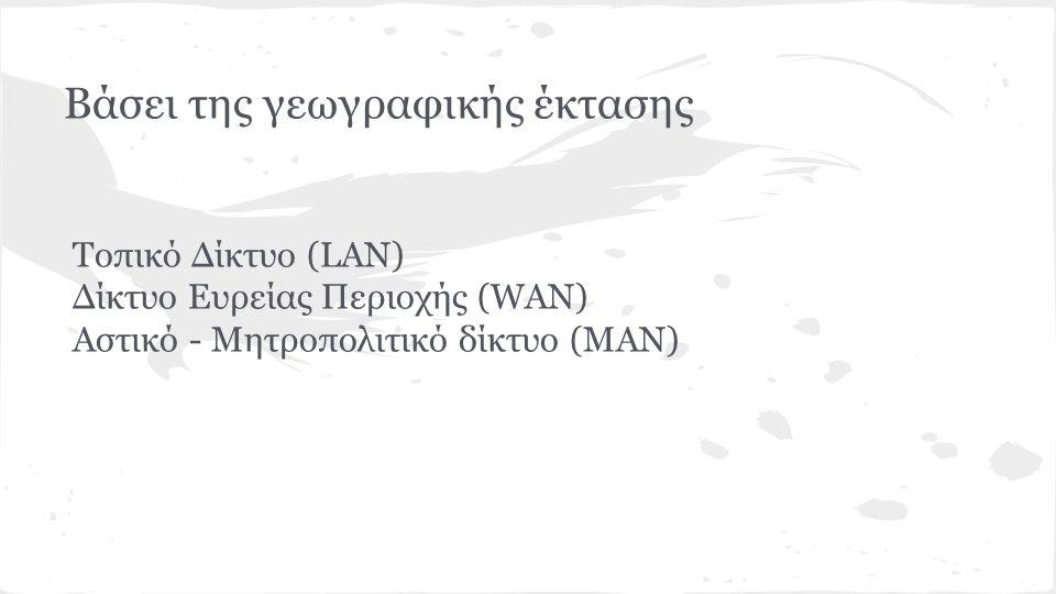 Βάσει της γεωγραφικής έκτασης Τοπικό Δίκτυο (LAN) Δίκτυο Ευρείας Περιοχής (WAN) Αστικό - Μητροπολιτικό δίκτυο (MAN)