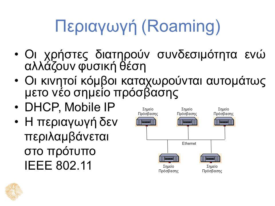 Περιαγωγή (Roaming) Οι χρήστες διατηρούν συνδεσιμότητα ενώ αλλάζουν φυσική θέση Οι κινητοί κόμβοι καταχωρούνται αυτομάτως μετο νέο σημείο πρόσβασης DH