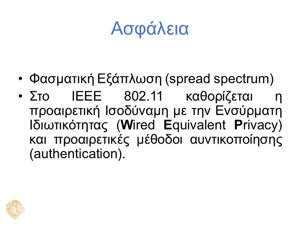 Ασφάλεια Φασματική Εξάπλωση (spread spectrum) Στο IEEE 802.11 καθορίζεται η προαιρετική Ισοδύναμη με την Ενσύρματη Ιδιωτικότητας (Wired Equivalent Pri
