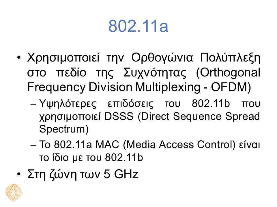 802.11a Χρησιμοποιεί την Ορθογώνια Πολύπλεξη στο πεδίο της Συχνότητας (Orthogonal Frequency Division Multiplexing - OFDM) –Υψηλότερες επιδόσεις του 80