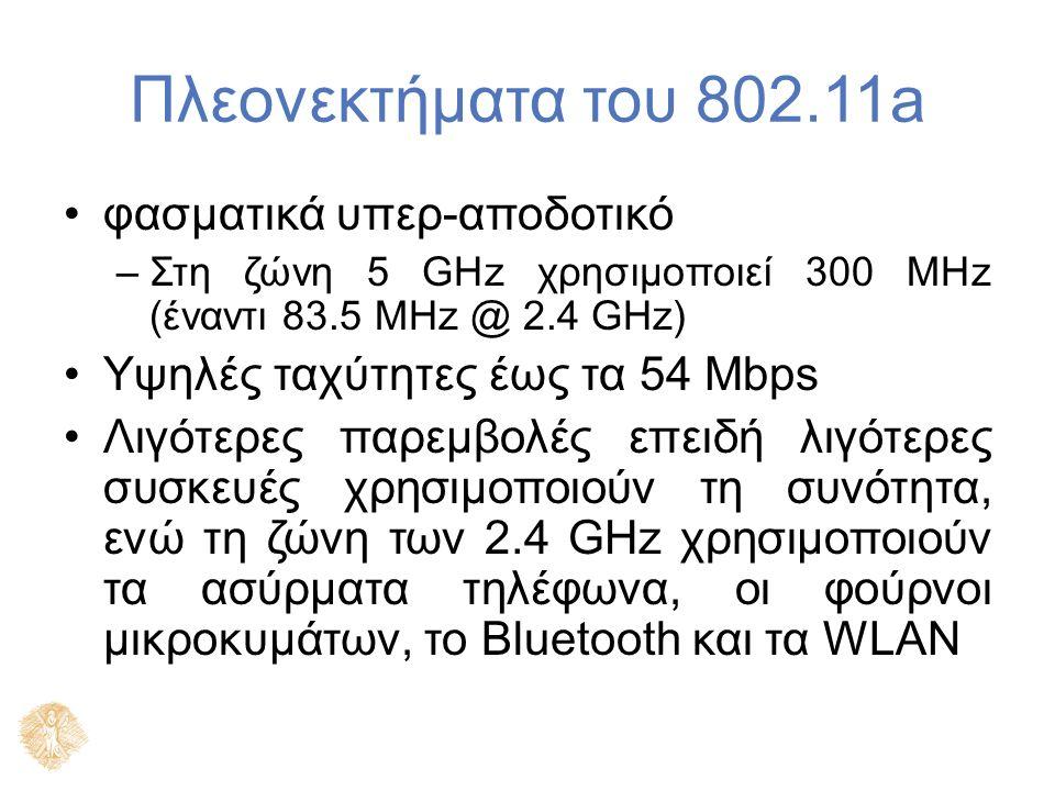 Πλεονεκτήματα του 802.11a φασματικά υπερ-αποδοτικό –Στη ζώνη 5 GHz χρησιμοποιεί 300 MHz (έναντι 83.5 MHz @ 2.4 GHz) Υψηλές ταχύτητες έως τα 54 Mbps Λι