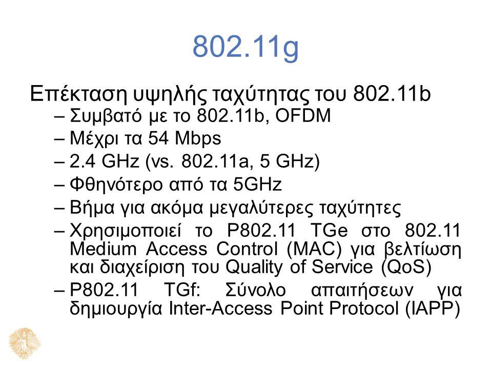 802.11g Επέκταση υψηλής ταχύτητας του 802.11b –Συμβατό με το 802.11b, OFDM –Μέχρι τα 54 Mbps –2.4 GHz (vs. 802.11a, 5 GHz) –Φθηνότερο από τα 5GHz –Βήμ