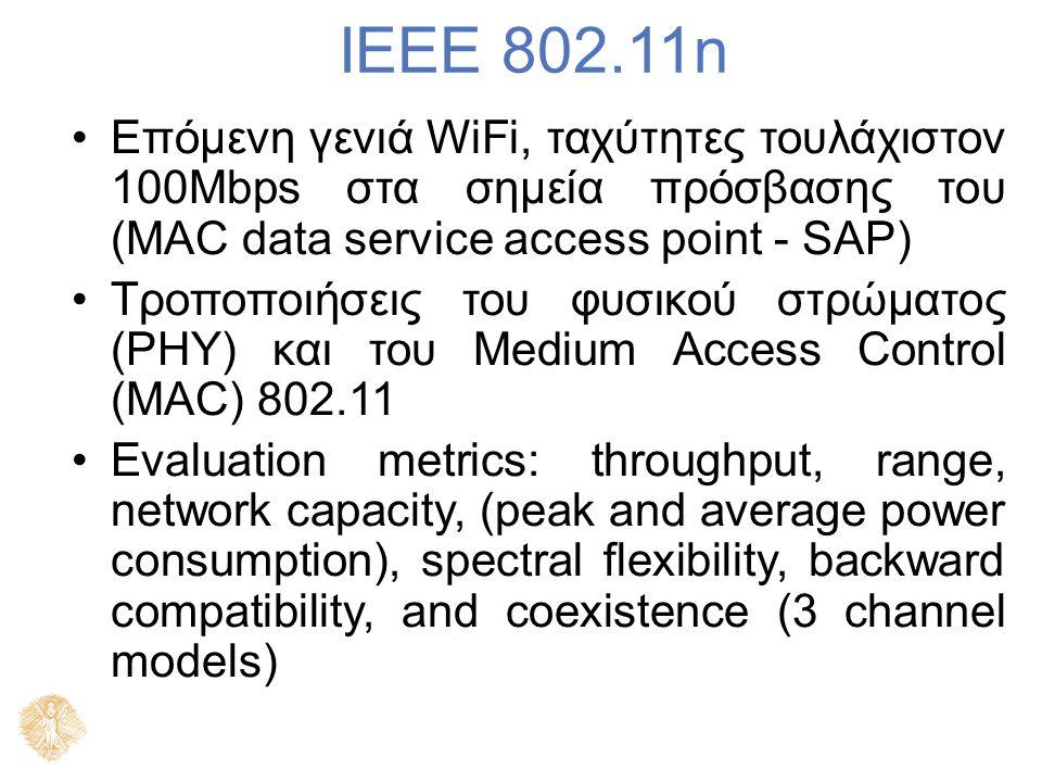 IEEE 802.11n Επόμενη γενιά WiFi, ταχύτητες τουλάχιστον 100Mbps στα σημεία πρόσβασης του (MAC data service access point - SAP) Τροποποιήσεις του φυσικο