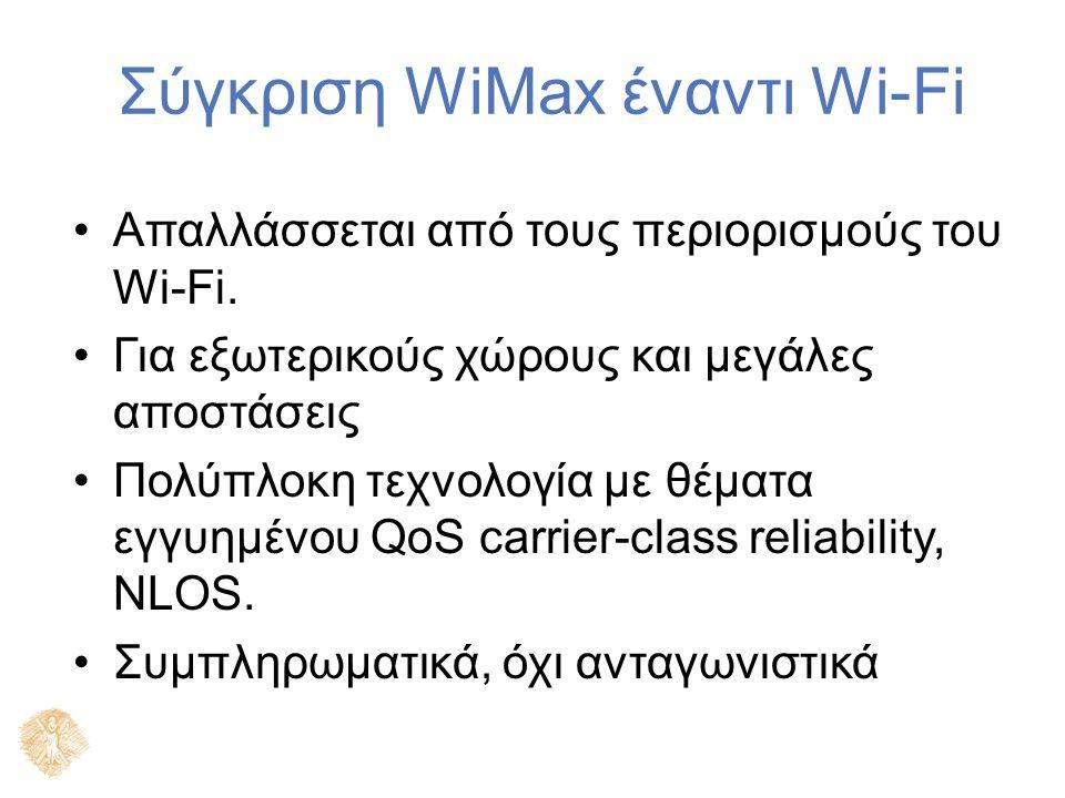 Σύγκριση WiMax έναντι Wi-Fi Απαλλάσσεται από τους περιορισμούς του Wi-Fi. Για εξωτερικούς χώρους και μεγάλες αποστάσεις Πολύπλοκη τεχνολογία με θέματα