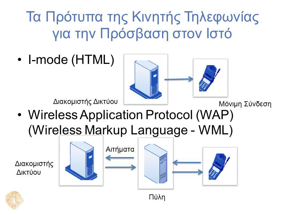 Τα Πρότυπα της Κινητής Τηλεφωνίας για την Πρόσβαση στον Ιστό I-mode (HTML) Wireless Application Protocol (WAP) (Wireless Markup Language - WML) Διακομ