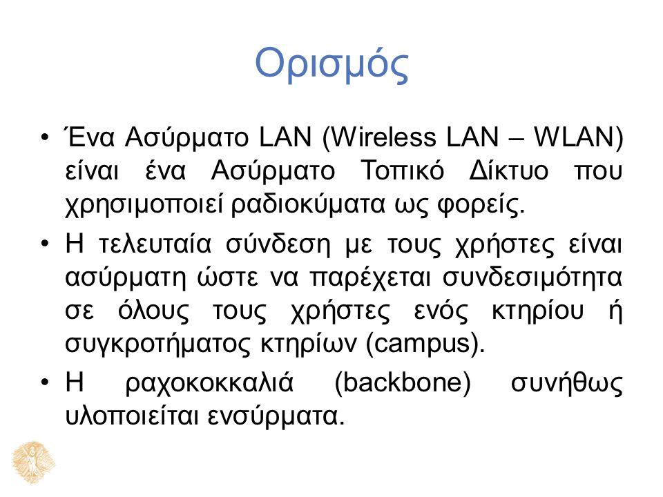 Ορισμός Ένα Ασύρματο LAN (Wireless LAN – WLAN) είναι ένα Ασύρματο Τοπικό Δίκτυο που χρησιμοποιεί ραδιοκύματα ως φορείς. Η τελευταία σύνδεση με τους χρ