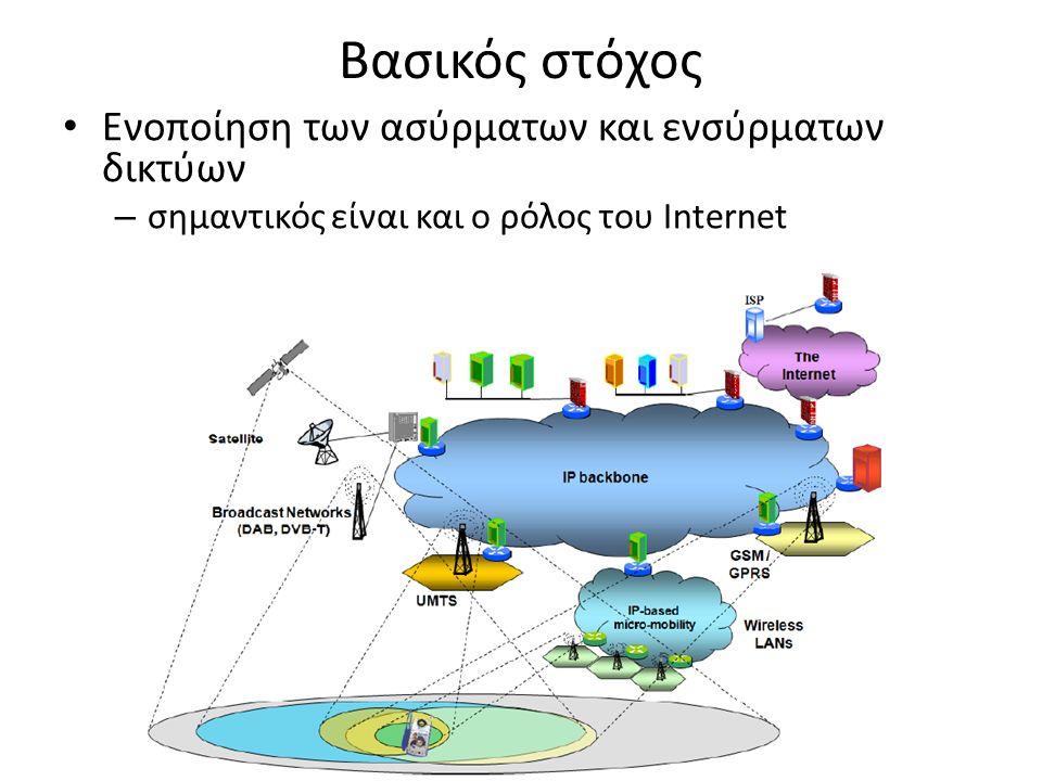 Βασικός στόχος Ενοποίηση των ασύρματων και ενσύρματων δικτύων – σημαντικός είναι και ο ρόλος του Internet