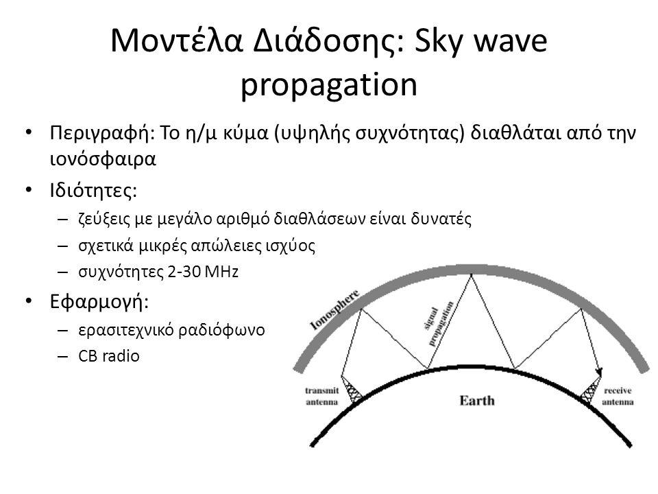Μοντέλα Διάδοσης: Sky wave propagation Περιγραφή: Το η/μ κύμα (υψηλής συχνότητας) διαθλάται από την ιονόσφαιρα Ιδιότητες: – ζεύξεις με μεγάλο αριθμό διαθλάσεων είναι δυνατές – σχετικά μικρές απώλειες ισχύος – συχνότητες 2‐30 MHz Εφαρμογή: – ερασιτεχνικό ραδιόφωνο – CB radio