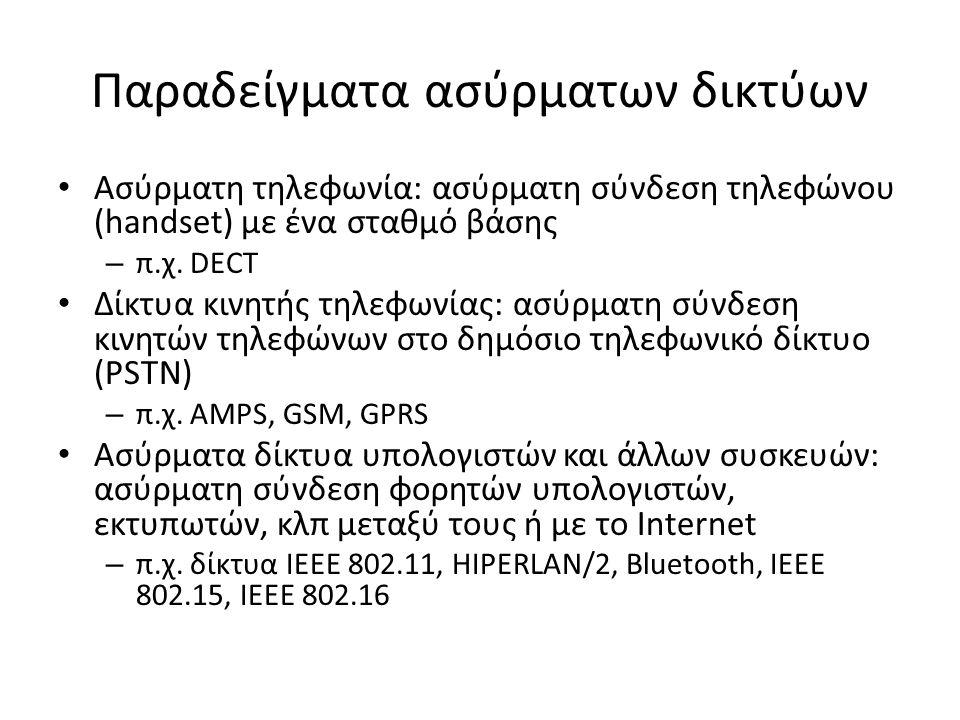 Παραδείγματα ασύρματων δικτύων Ασύρματη τηλεφωνία: ασύρματη σύνδεση τηλεφώνου (handset) με ένα σταθμό βάσης – π.χ.