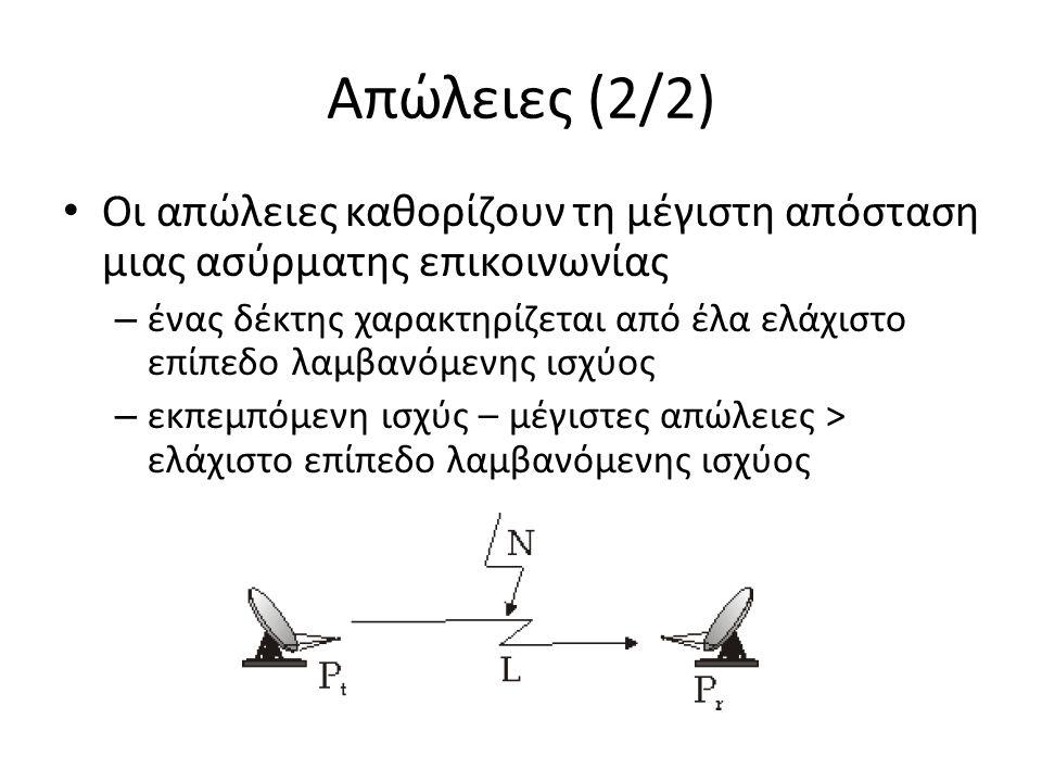 Απώλειες (2/2) Οι απώλειες καθορίζουν τη μέγιστη απόσταση μιας ασύρματης επικοινωνίας – ένας δέκτης χαρακτηρίζεται από έλα ελάχιστο επίπεδο λαμβανόμενης ισχύος – εκπεμπόμενη ισχύς – μέγιστες απώλειες > ελάχιστο επίπεδο λαμβανόμενης ισχύος