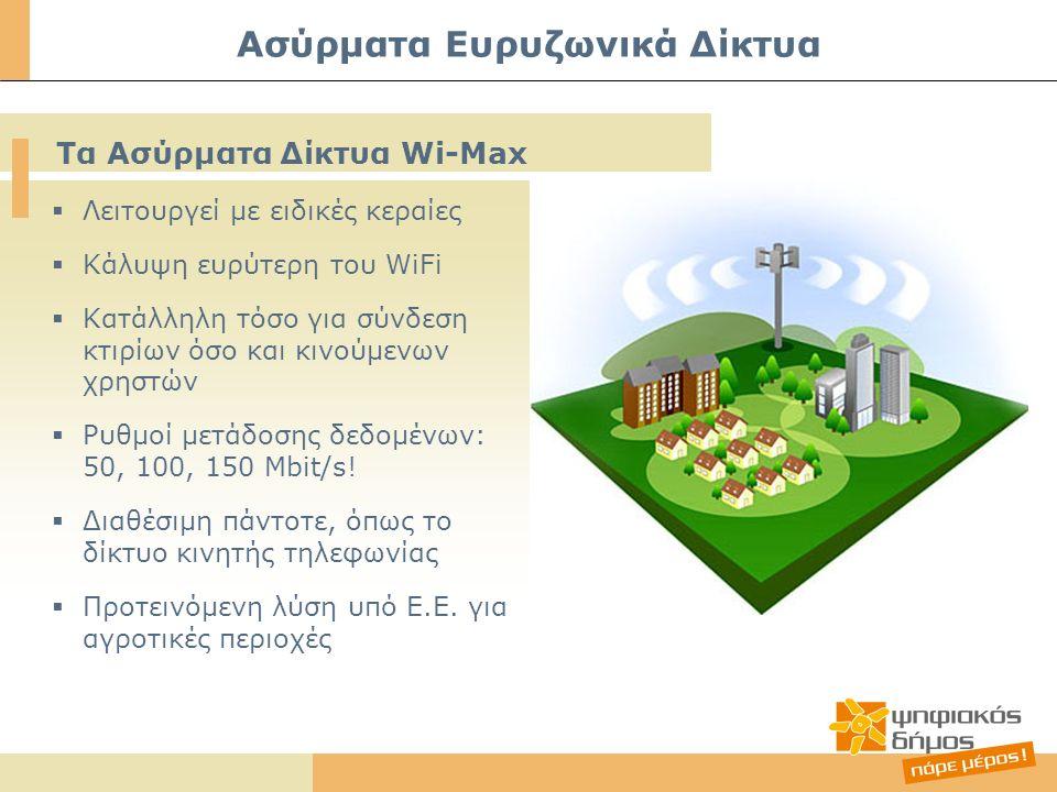  Λειτουργεί με ειδικές κεραίες  Κάλυψη ευρύτερη του WiFi  Κατάλληλη τόσο για σύνδεση κτιρίων όσο και κινούμενων χρηστών  Ρυθμοί μετάδοσης δεδομένω