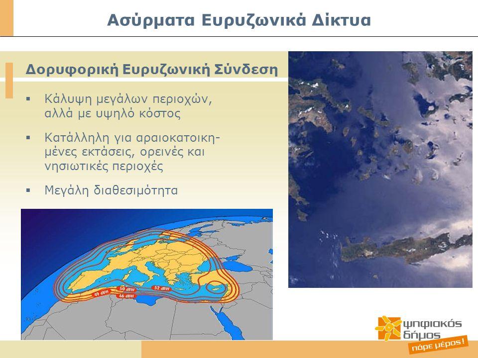  Κάλυψη μεγάλων περιοχών, αλλά με υψηλό κόστος  Κατάλληλη για αραιοκατοικη- μένες εκτάσεις, ορεινές και νησιωτικές περιοχές  Μεγάλη διαθεσιμότητα Δορυφορική Ευρυζωνική Σύνδεση Ασύρματα Ευρυζωνικά Δίκτυα