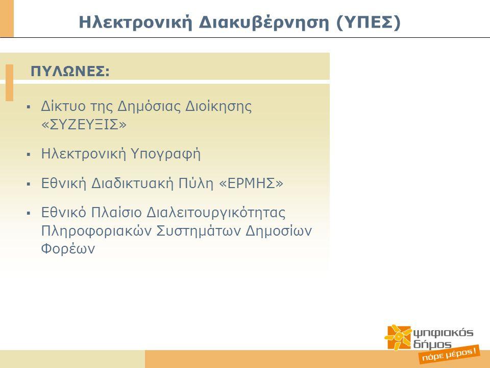  Δίκτυο της Δημόσιας Διοίκησης «ΣΥΖΕΥΞΙΣ»  Ηλεκτρονική Υπογραφή  Εθνική Διαδικτυακή Πύλη «ΕΡΜΗΣ»  Εθνικό Πλαίσιο Διαλειτουργικότητας Πληροφοριακών Συστημάτων Δημοσίων Φορέων Ηλεκτρονική Διακυβέρνηση (ΥΠΕΣ) ΠΥΛΩΝΕΣ: