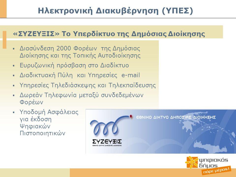  Διασύνδεση 2000 Φορέων της Δημόσιας Διοίκησης και της Τοπικής Αυτοδιοίκησης  Ευρυζωνική πρόσβαση στο Διαδίκτυο  Διαδικτυακή Πύλη και Υπηρεσίες e-mail  Υπηρεσίες Τηλεδιάσκεψης και Τηλεκπαίδευσης  Δωρεάν Τηλεφωνία μεταξύ συνδεδεμένων Φορέων  Υποδομή Ασφάλειας για έκδοση Ψηφιακών Πιστοποιητικών Ηλεκτρονική Διακυβέρνηση (ΥΠΕΣ) «ΣΥΖΕΥΞΙΣ» Το Υπερδίκτυο της Δημόσιας Διοίκησης