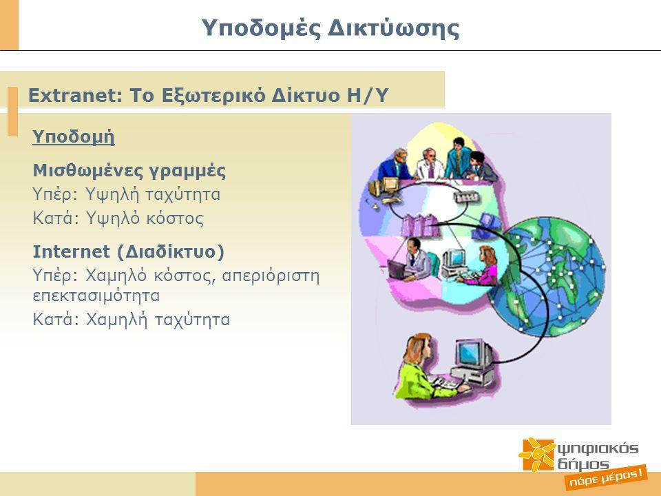 Υποδομή Μισθωμένες γραμμές Υπέρ: Υψηλή ταχύτητα Κατά: Υψηλό κόστος Internet (Διαδίκτυο) Υπέρ: Χαμηλό κόστος, απεριόριστη επεκτασιμότητα Κατά: Χαμηλή ταχύτητα Υποδομές Δικτύωσης Extranet: Το Εξωτερικό Δίκτυο Η/Υ