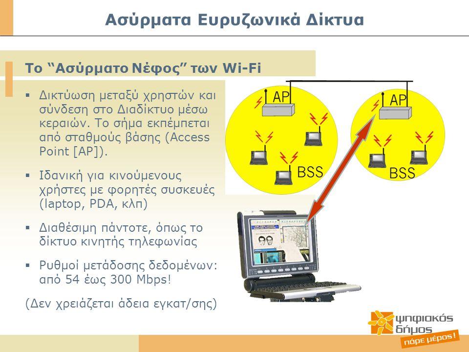 Ασύρματα Ευρυζωνικά Δίκτυα  Δικτύωση μεταξύ χρηστών και σύνδεση στο Διαδίκτυο μέσω κεραιών. Το σήμα εκπέμπεται από σταθμούς βάσης (Access Point [AP])