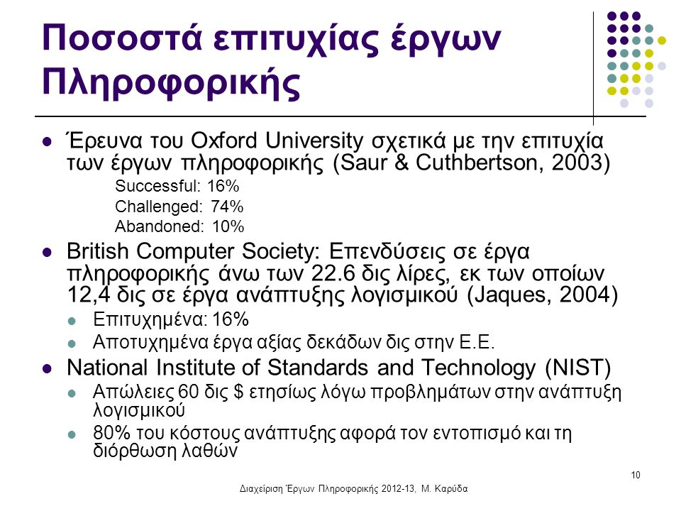 10 Ποσοστά επιτυχίας έργων Πληροφορικής Έρευνα του Oxford University σχετικά με την επιτυχία των έργων πληροφορικής (Saur & Cuthbertson, 2003) Successful: 16% Challenged: 74% Abandoned: 10% British Computer Society: Επενδύσεις σε έργα πληροφορικής άνω των 22.6 δις λίρες, εκ των οποίων 12,4 δις σε έργα ανάπτυξης λογισμικού (Jaques, 2004) Επιτυχημένα: 16% Αποτυχημένα έργα αξίας δεκάδων δις στην Ε.Ε.