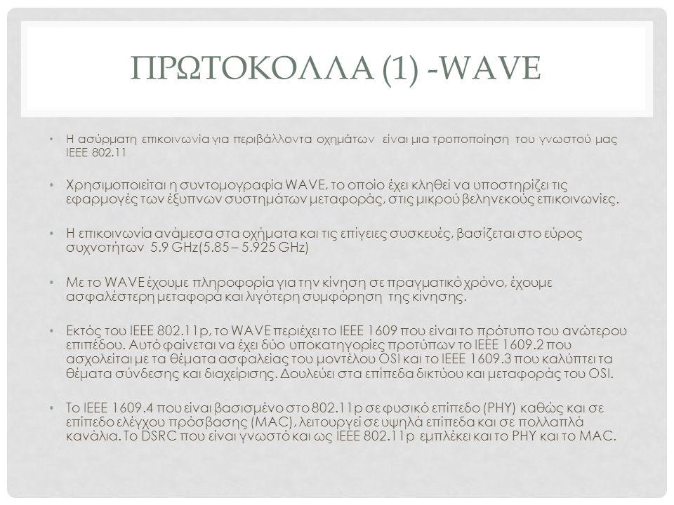 ΠΡΩΤΟΚΟΛΛΑ (1) -WAVE H ασύρματη επικοινωνία για περιβάλλοντα οχημάτων είναι μια τροποποίηση του γνωστού μας IEEE 802.11 Χρησιμοποιείται η συντομογραφία WAVE, το οποίο έχει κληθεί να υποστηρίζει τις εφαρμογές των έξυπνων συστημάτων μεταφοράς, στις μικρού βεληνεκούς επικοινωνίες.