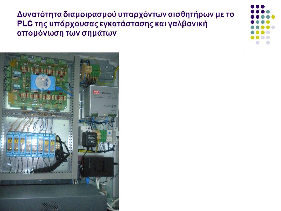 Δυνατότητα διαμοιρασμού υπαρχόντων αισθητήρων με το PLC της υπάρχουσας εγκατάστασης και γαλβανική απομόνωση των σημάτων