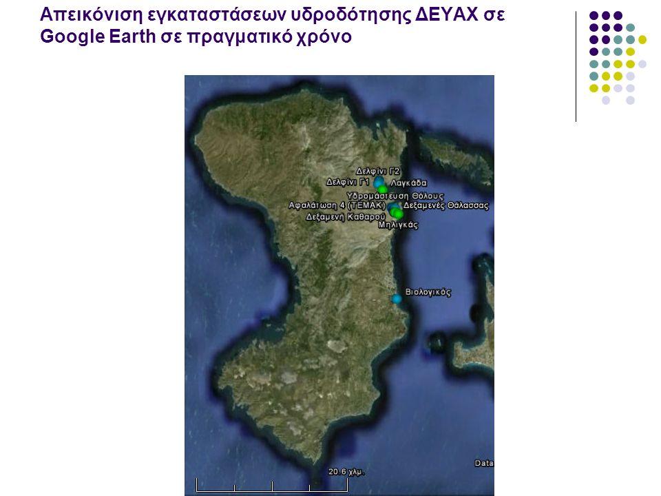 Απεικόνιση εγκαταστάσεων υδροδότησης ΔΕΥΑΧ σε Google Earth σε πραγματικό χρόνο