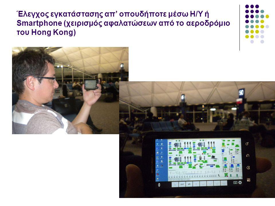 Έλεγχος εγκατάστασης απ' οπουδήποτε μέσω H/Y ή Smartphone (χειρισμός αφαλατώσεων από το αεροδρόμιο του Hong Kong)