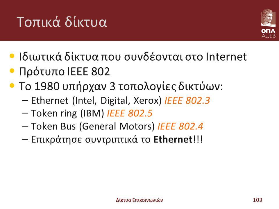 Tοπικά δίκτυα Ιδιωτικά δίκτυα που συνδέονται στο Internet Πρότυπο IEEE 802 Το 1980 υπήρχαν 3 τοπολογίες δικτύων: – Ethernet (Intel, Digital, Xerox) IEEE 802.3 – Token ring (IBM) IEEE 802.5 – Token Bus (General Motors) IEEE 802.4 – Επικράτησε συντριπτικά το Ethernet!!.