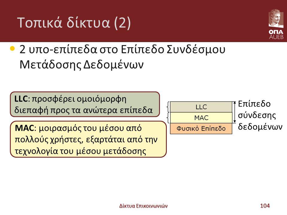 Tοπικά δίκτυα (2) 2 υπο-επίπεδα στο Επίπεδο Συνδέσμου Μετάδοσης Δεδομένων Δίκτυα Επικοινωνιών 104 Επίπεδο σύνδεσης δεδομένων LLC: προσφέρει ομοιόμορφη διεπαφή προς τα ανώτερα επίπεδα MAC: μοιρασμός του μέσου από πολλούς χρήστες, εξαρτάται από την τεχνολογία του μέσου μετάδοσης