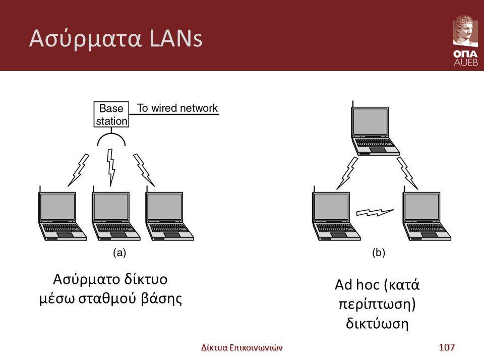 Ασύρματα LANs Δίκτυα Επικοινωνιών 107 Ασύρματο δίκτυο μέσω σταθμού βάσης Ad hoc (κατά περίπτωση) δικτύωση