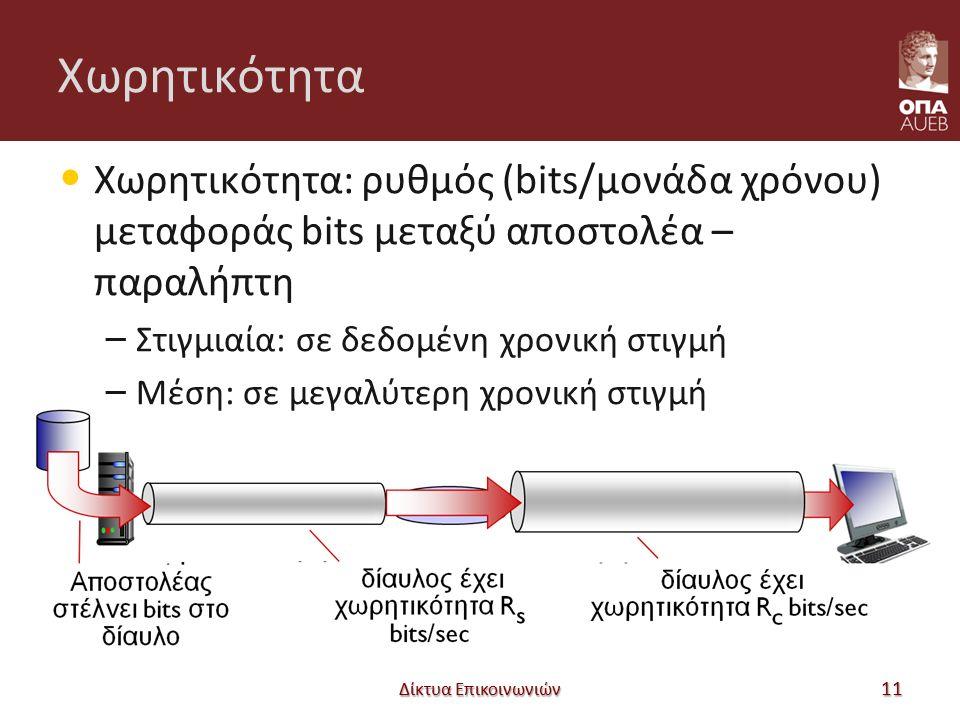 Χωρητικότητα Χωρητικότητα: ρυθμός (bits/μονάδα χρόνου) μεταφοράς bits μεταξύ αποστολέα – παραλήπτη – Στιγμιαία: σε δεδομένη χρονική στιγμή – Μέση: σε