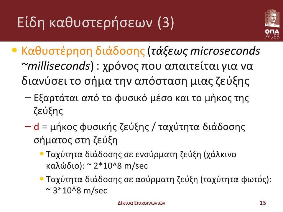 Είδη καθυστερήσεων (3) Καθυστέρηση διάδοσης (τάξεως microseconds ~milliseconds) : χρόνος που απαιτείται για να διανύσει το σήμα την απόσταση μιας ζεύξ
