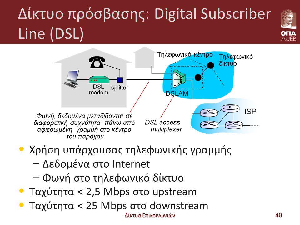 Δίκτυο πρόσβασης: Digital Subscriber Line (DSL) Χρήση υπάρχουσας τηλεφωνικής γραμμής – Δεδομένα στο Internet – Φωνή στο τηλεφωνικό δίκτυο Ταχύτητα < 2,5 Mbps στο upstream Ταχύτητα < 25 Mbps στο downstream Δίκτυα Επικοινωνιών 40