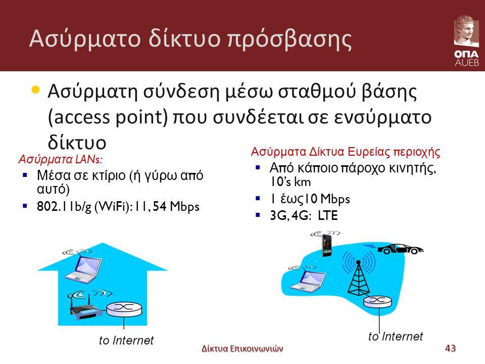 Ασύρματο δίκτυο πρόσβασης Ασύρματη σύνδεση μέσω σταθμού βάσης (access point) που συνδέεται σε ενσύρματο δίκτυο Δίκτυα Επικοινωνιών 43 Ασύρματα LANs:  Μέσα σε κτίριο ( ή γύρω α π ό αυτό )  802.11b/g (WiFi): 11, 54 Mbps Ασύρματα Δίκτυα Ευρείας π εριοχής  Α π ό κά π οιο π άροχο κινητής, 10's km  1 έως 10 Mbps  3G, 4G: LTE