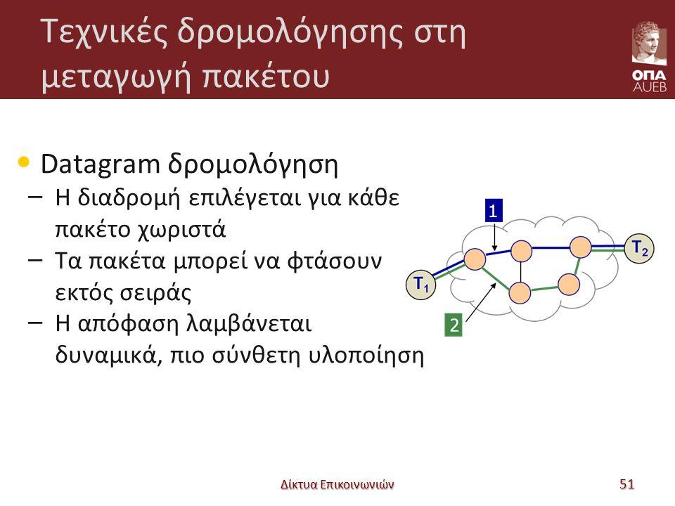Τεχνικές δρομολόγησης στη μεταγωγή πακέτου Datagram δρομολόγηση – Η διαδρομή επιλέγεται για κάθε πακέτο χωριστά – Τα πακέτα μπορεί να φτάσουν εκτός σειράς – Η απόφαση λαμβάνεται δυναμικά, πιο σύνθετη υλοποίηση Δίκτυα Επικοινωνιών 51
