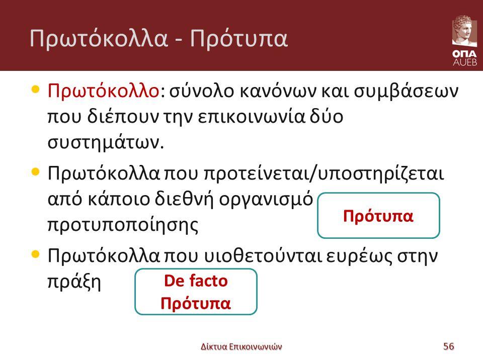 Πρωτόκολλα - Πρότυπα Πρωτόκολλο: σύνολο κανόνων και συμβάσεων που διέπουν την επικοινωνία δύο συστημάτων. Πρωτόκολλα που προτείνεται/υποστηρίζεται από