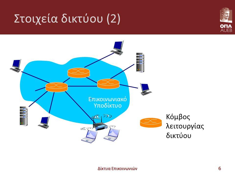 Στοιχεία δικτύου (2) Δίκτυα Επικοινωνιών 6 mobile network Επικοινωνιακό Υποδίκτυο Κόμβος λειτουργίας δικτύου