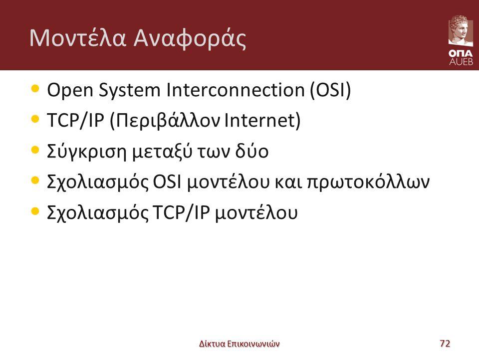Μοντέλα Αναφοράς Open System Interconnection (OSI) TCP/IP (Περιβάλλον Internet) Σύγκριση μεταξύ των δύο Σχολιασμός OSI μοντέλου και πρωτοκόλλων Σχολιασμός TCP/IP μοντέλου Δίκτυα Επικοινωνιών 72