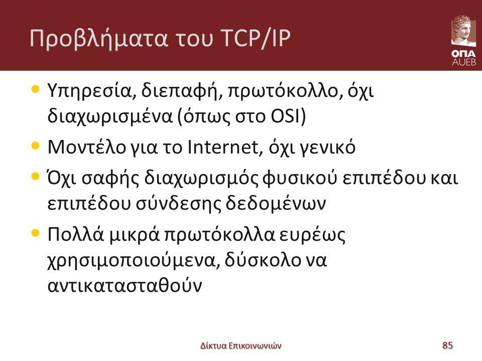 Προβλήματα του TCP/IP Υπηρεσία, διεπαφή, πρωτόκολλο, όχι διαχωρισμένα (όπως στο OSI) Μοντέλο για το Internet, όχι γενικό Όχι σαφής διαχωρισμός φυσικού