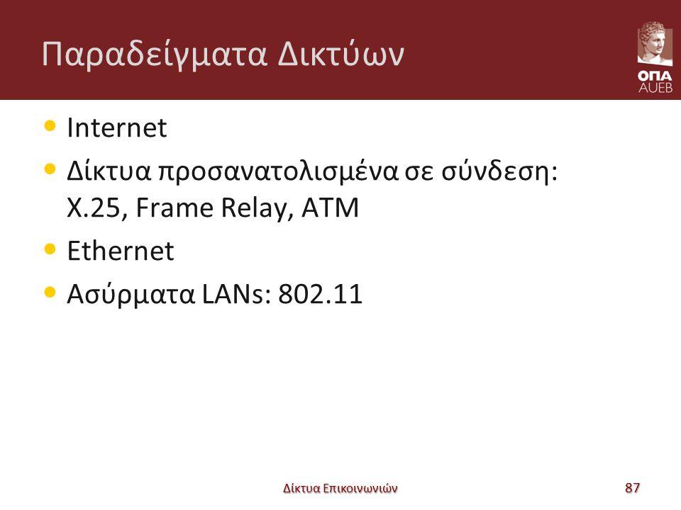 Παραδείγματα Δικτύων Internet Δίκτυα προσανατολισμένα σε σύνδεση: X.25, Frame Relay, ATM Ethernet Ασύρματα LANs: 802.11 Δίκτυα Επικοινωνιών 87