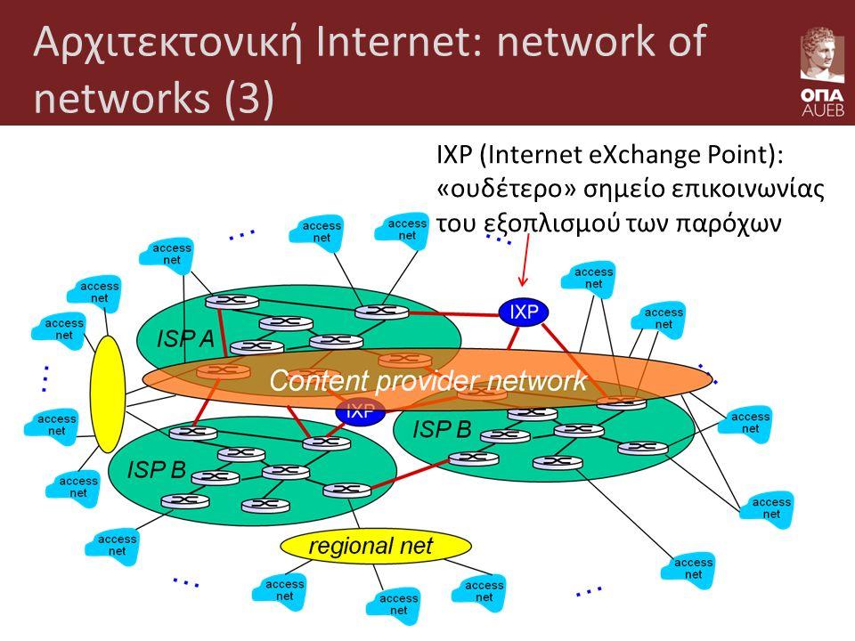 Αρχιτεκτονική Internet: network of networks (3) IXP (Internet eXchange Point): «ουδέτερο» σημείο επικοινωνίας του εξοπλισμού των παρόχων