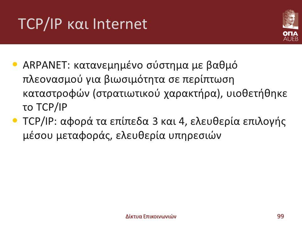 TCP/IP και Internet ARPANET: κατανεμημένο σύστημα με βαθμό πλεονασμού για βιωσιμότητα σε περίπτωση καταστροφών (στρατιωτικού χαρακτήρα), υιοθετήθηκε το TCP/IP TCP/IP: αφορά τα επίπεδα 3 και 4, ελευθερία επιλογής μέσου μεταφοράς, ελευθερία υπηρεσιών Δίκτυα Επικοινωνιών 99