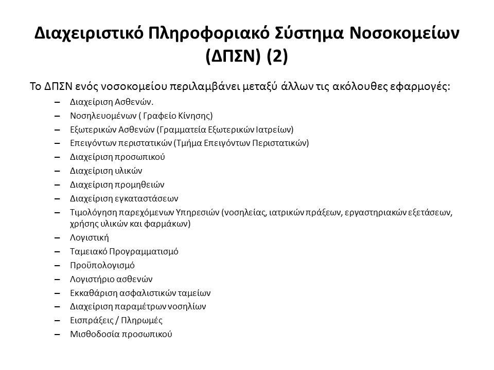 Το ΔΠΣΝ ενός νοσοκομείου περιλαμβάνει μεταξύ άλλων τις ακόλουθες εφαρμογές: – Διαχείριση Ασθενών.