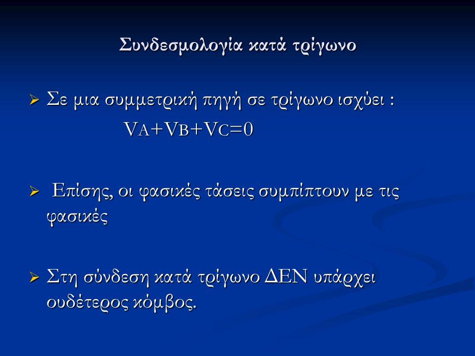 Συνδεσμολογία κατά τρίγωνο  Σε μια συμμετρική πηγή σε τρίγωνο ισχύει : V A +V B +V C =0 V A +V B +V C =0  Επίσης, οι φασικές τάσεις συμπίπτουν με τις φασικές  Στη σύνδεση κατά τρίγωνο ΔΕΝ υπάρχει ουδέτερος κόμβος.