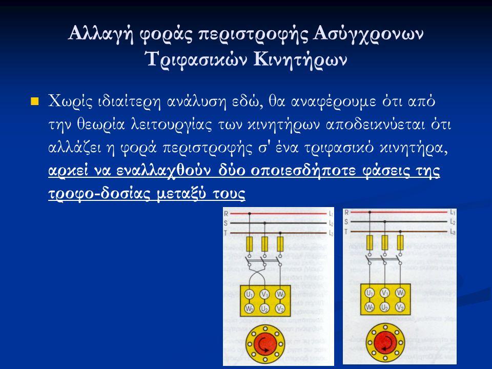 Αλλαγή φοράς περιστροφής Ασύγχρονων Τριφασικών Κινητήρων Χωρίς ιδιαίτερη ανάλυση εδώ, θα αναφέρουμε ότι από την θεωρία λειτουργίας των κινητήρων αποδεικνύεται ότι αλλάζει η φορά περιστροφής σ ένα τριφασικό κινητήρα, αρκεί να εναλλαχθούν δύο οποιεσδήποτε φάσεις της τροφο-δοσίας μεταξύ τους