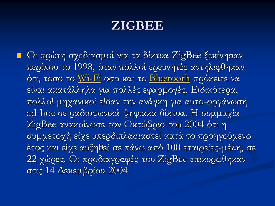 ZIGBEE Οι πρώτη σχεδιασμοί για τα δίκτυα ZigBee ξεκίνησαν περίπου το 1998, όταν πολλοί ερευνητές αντηλιφθηκαν ότι, τόσο το Wi-Fi οσο και το Bluetooth πρόκειτε να είναι ακατάλληλα για πολλές εφαρμογές.