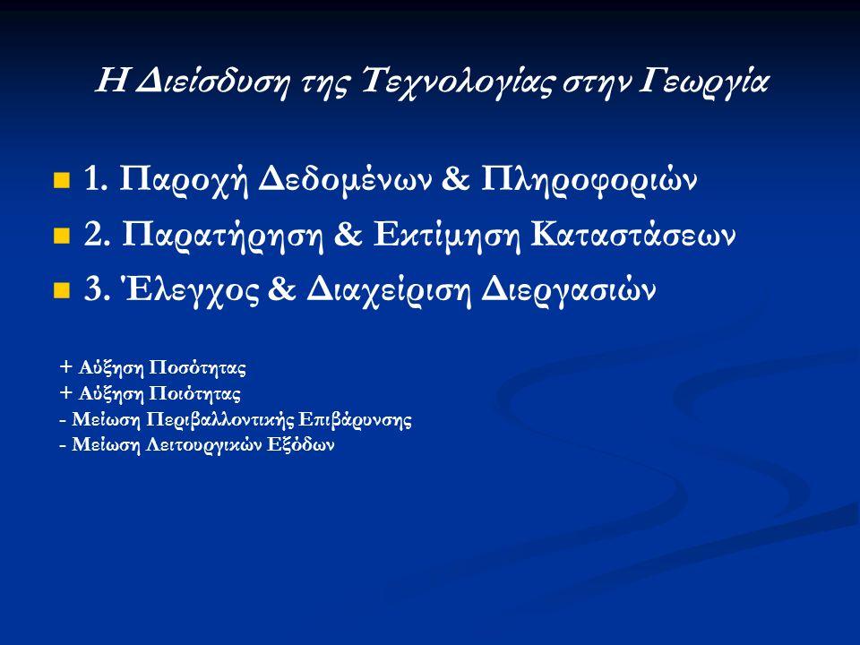 Η Διείσδυση της Τεχνολογίας στην Γεωργία 1. Παροχή Δεδομένων & Πληροφοριών 2.
