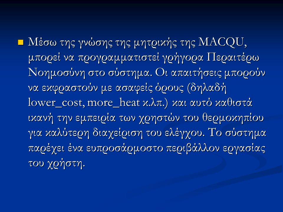 Μέσω της γνώσης της μητρικής της MACQU, μπορεί να προγραμματιστεί γρήγορα Περαιτέρω Νοημοσύνη στο σύστημα.