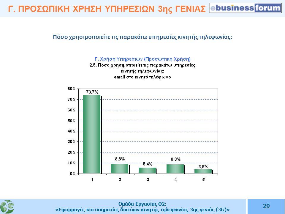 Ομάδα Εργασίας Θ2: «Εφαρμογές και υπηρεσίες δικτύων κινητής τηλεφωνίας 3ης γενιάς (3G)» 29 Γ.