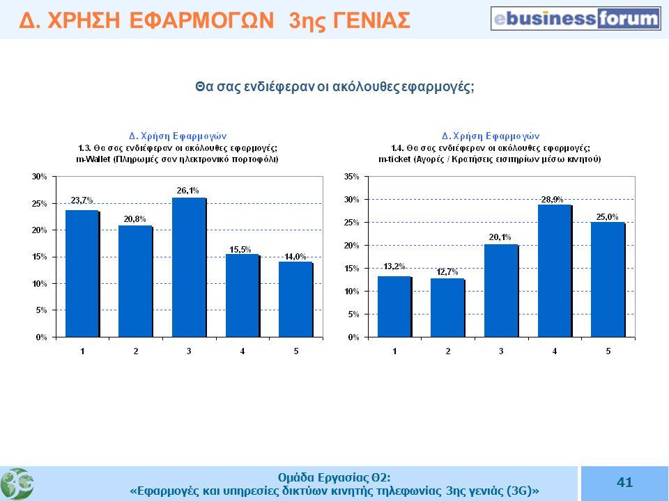 Ομάδα Εργασίας Θ2: «Εφαρμογές και υπηρεσίες δικτύων κινητής τηλεφωνίας 3ης γενιάς (3G)» 41 Δ.
